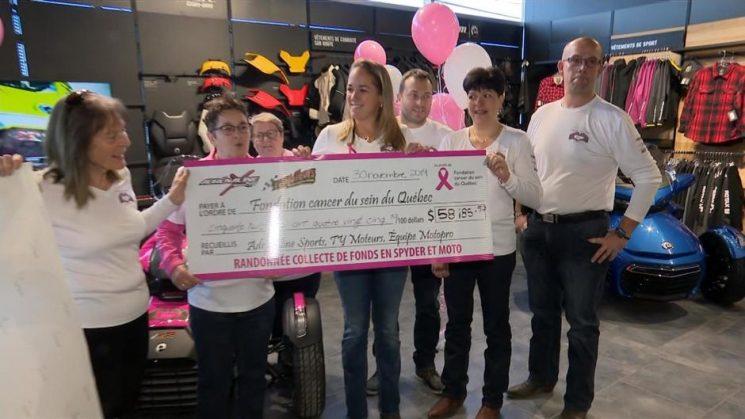 Remise d'un montant de 58 185.52$ à la Fondation cancer du sein du Québec