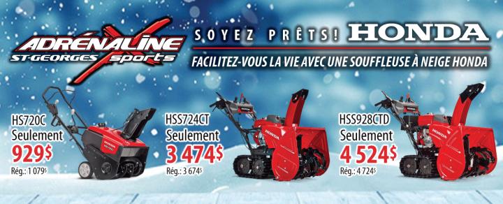 Promotion souffleuses à neige Honda